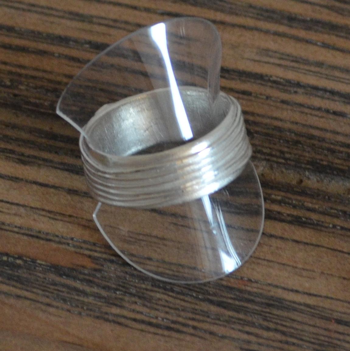 Bague anneau plat Pâte de métal Certification ACS1 Art Clay France Bijouschool Antibes Bérengère Silver
