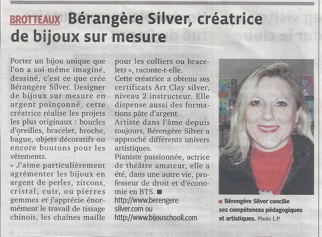 le progrès article berengere silver creation bijoux sur mesure en argent